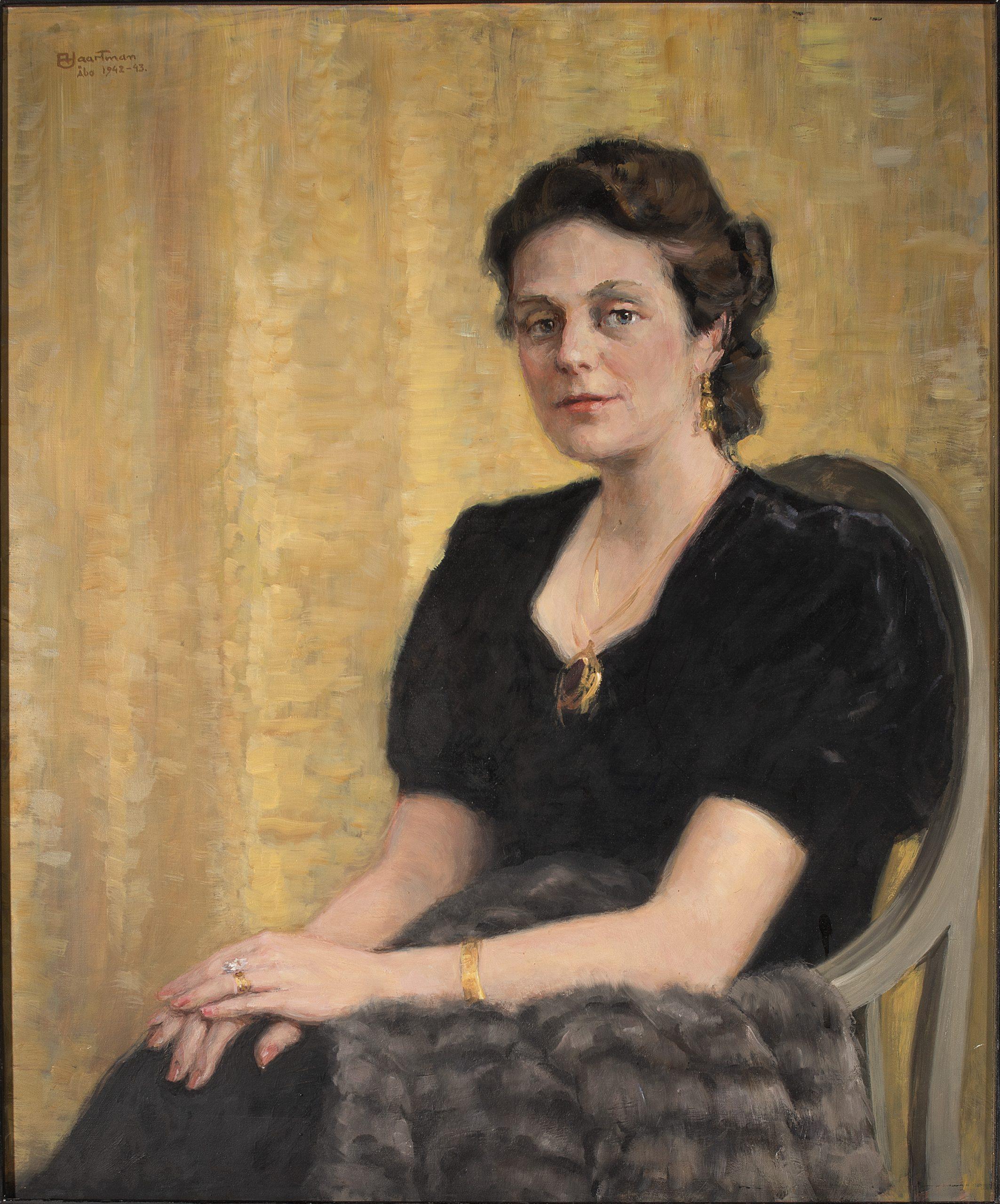 Haartman Axel Irma Furstenborg-Hannelius f. Streng,1942-43 Olja på skiva